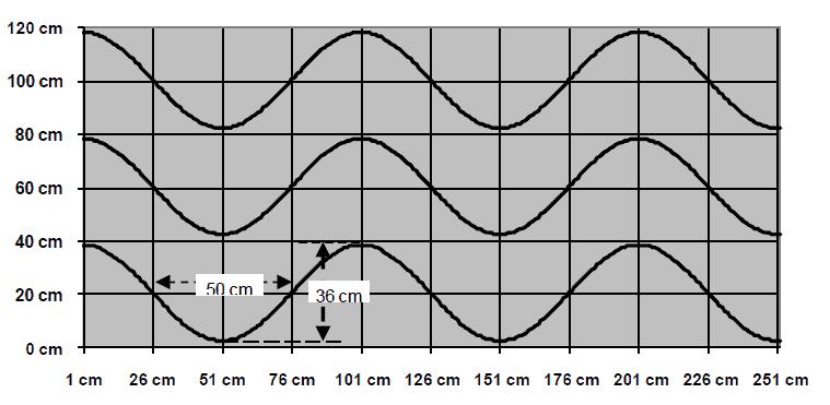 Standaard indeling van een eiland met de zaai- of plantlijnen